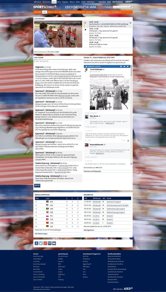 Liveticker Leichtathletik-WM 2015, NDR